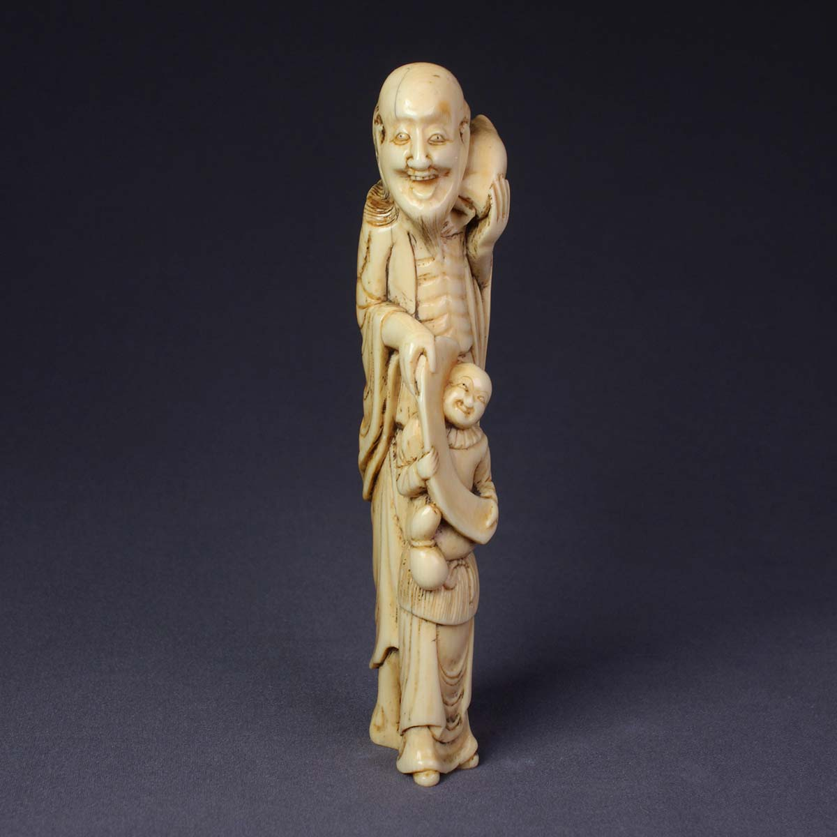 Large Ivory Netsuke of Gamma Sennin with Karako
