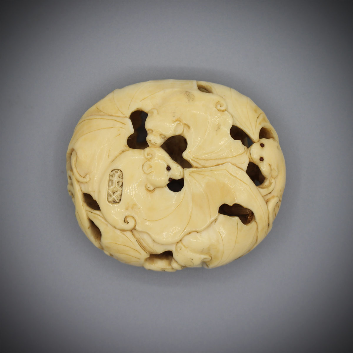 Ivory Manju Netsuke Carved with Nine Bats, MR3168_v1
