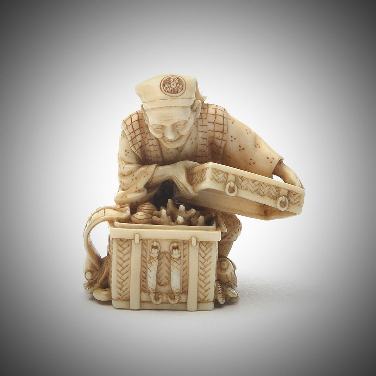 Small Ivory Netsuke of the Good Farmer from 'The Tongue Cut Sparrow' Story by Morita Soko, MR3343_v1