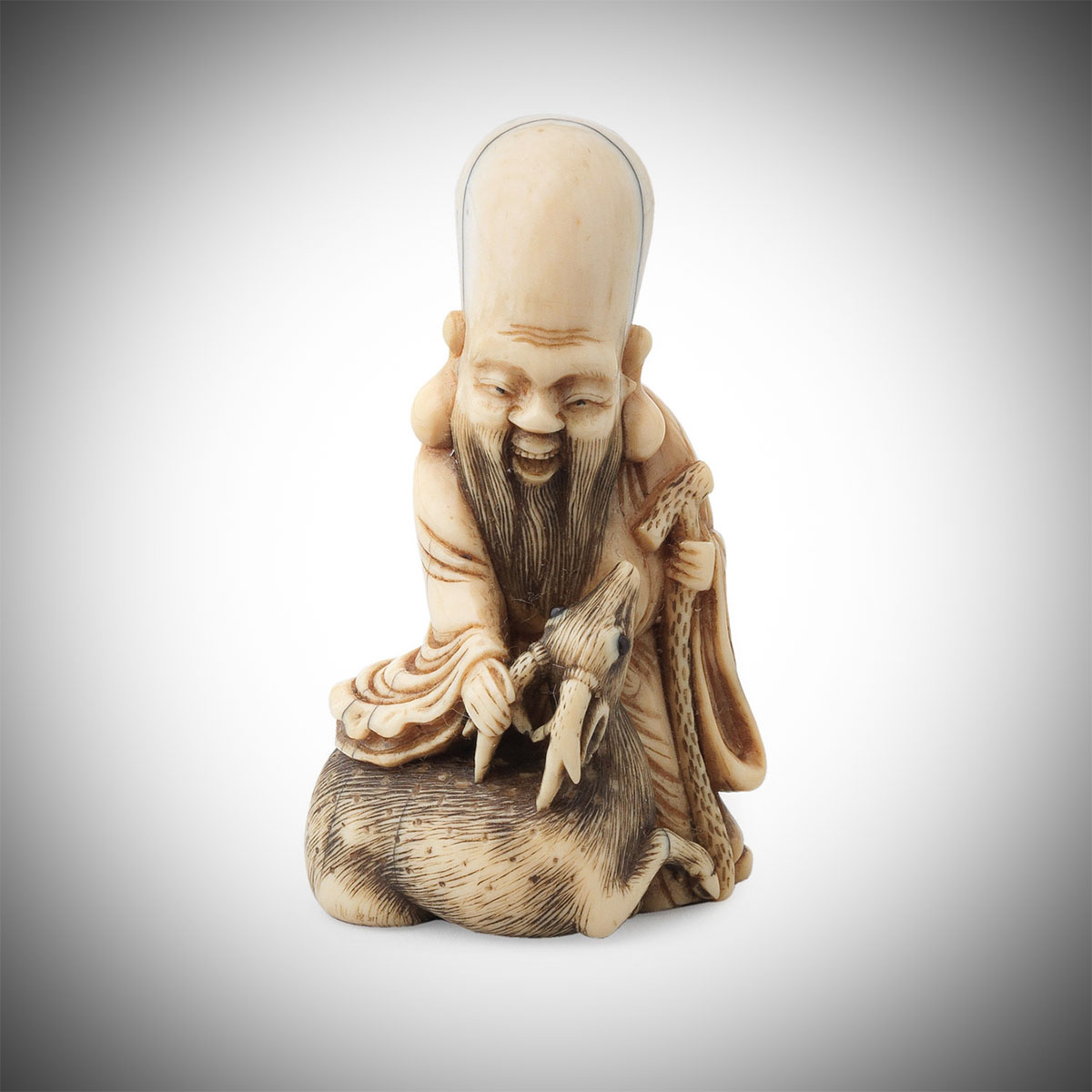 Ivory Netsuke of Jurojin by Follower of Risuke Garaku