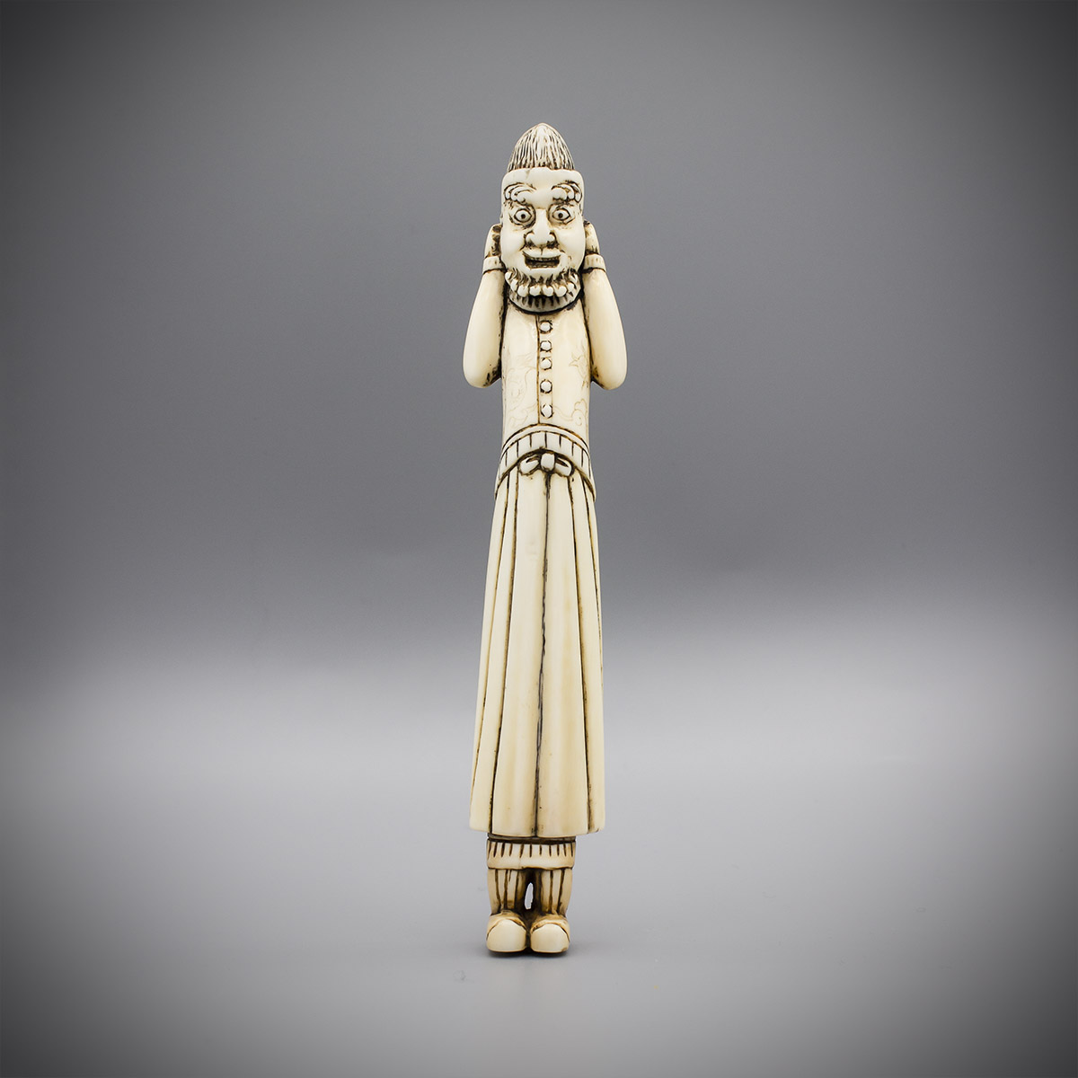 Tall Ivory Netsuke of a Foreigner with Mask MR3487_v.1-2